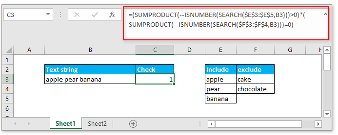 doc check if contain one of things but exclude 2