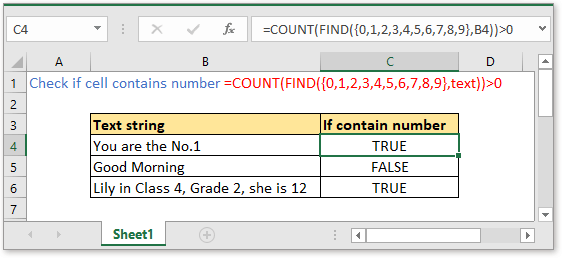 doc check if cell contain number 1