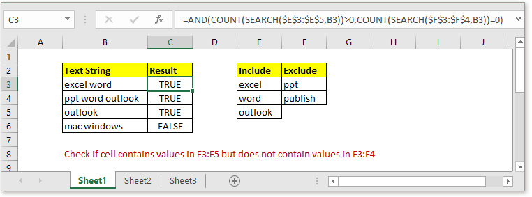doc check if contains some but not others 1
