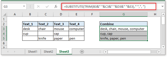 doc combine cells with comma 7