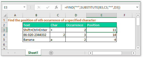 doc find position of nth occurrence of a character 1