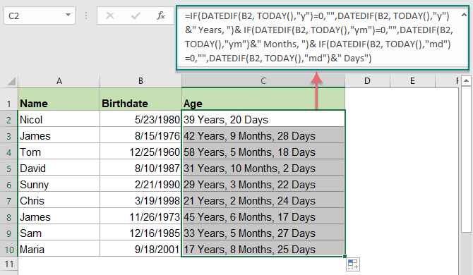 how to get age from dob in excel