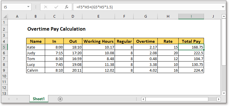 Excel Formula Calculate Overtime Pay