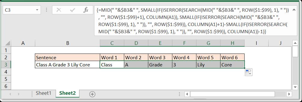 doc split sentence to word 3