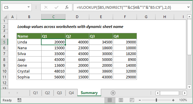 Lookup values across multiple worksheets with dynamic sheet name