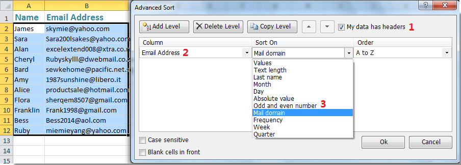 Easily sort data by last name / month / frequency / text length in Excel