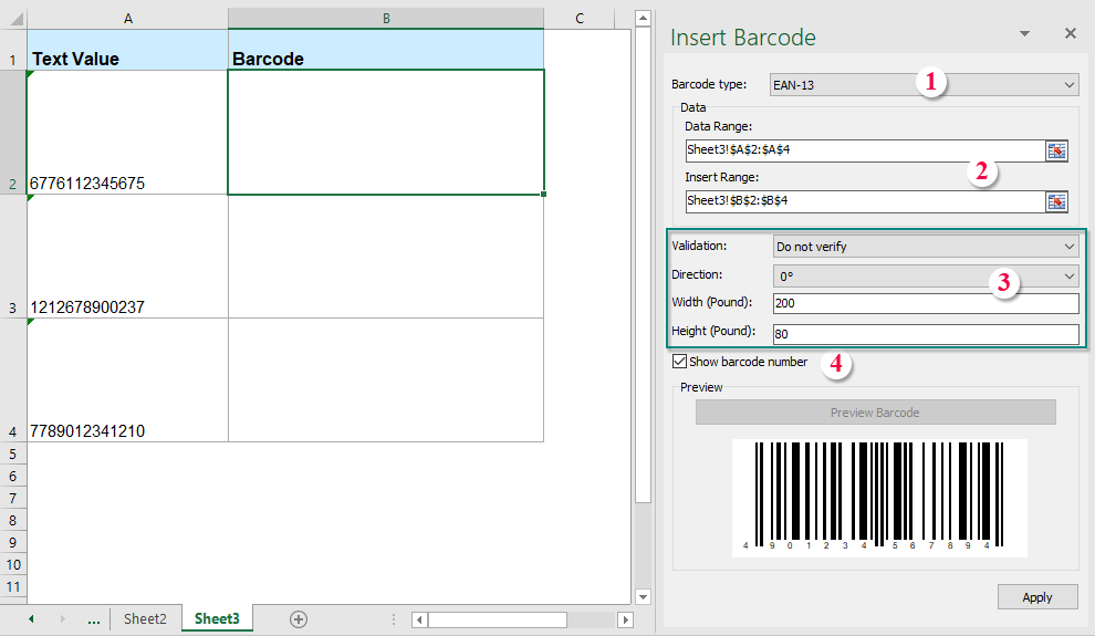 Quickly insert or create barcode into cells based on