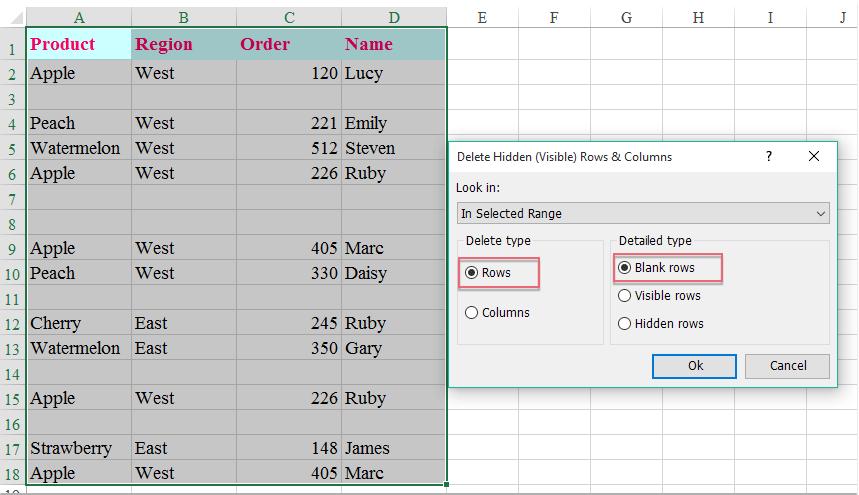 Quickly delete blank or hidden rows (columns) in Excel