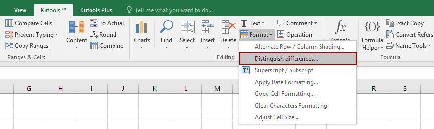 Distinguish Differences, insert page breaks, blank cells, or format cells/rows when cell value changes in the key column