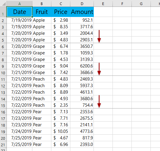 Insert page breaks when cell value changes in the key column