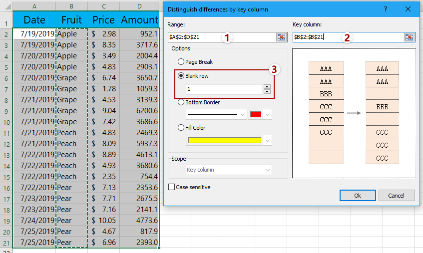 Insert blank rows when cell value changes