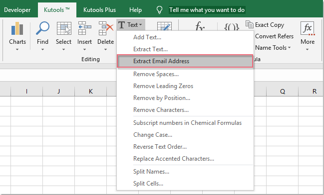 Quickly extract email address from text string in Excel