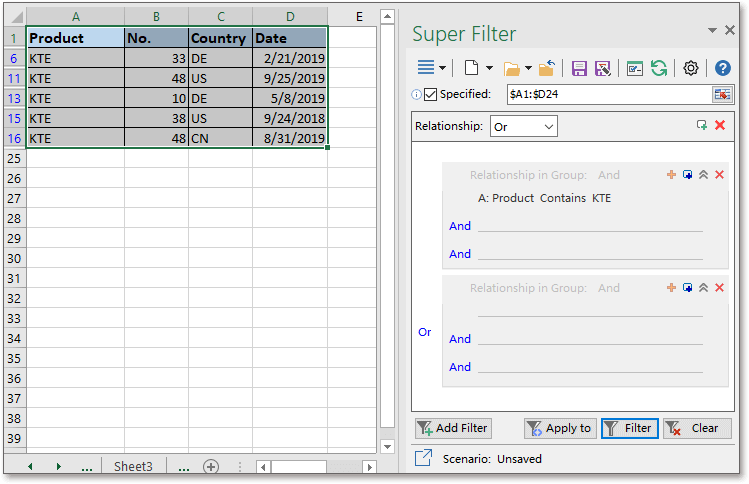 dati del super filtro dello scatto 2