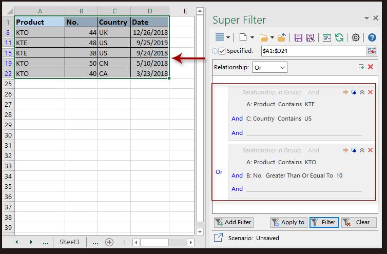 dati del super filtro dello scatto 3