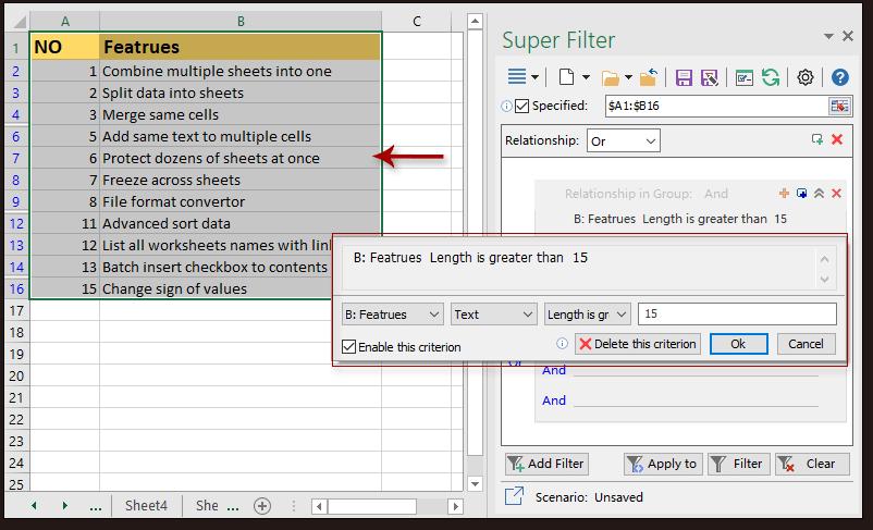 dati del super filtro dello scatto 4