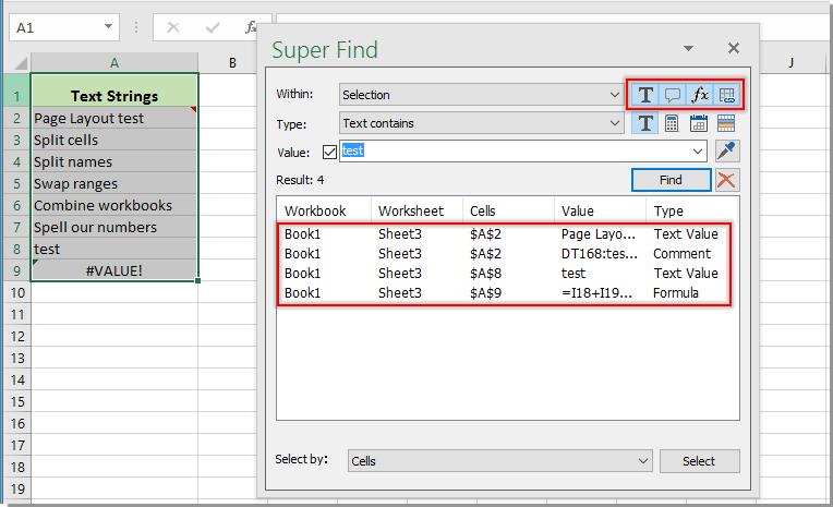 Quickly find specific text strings only in the comments in Excel