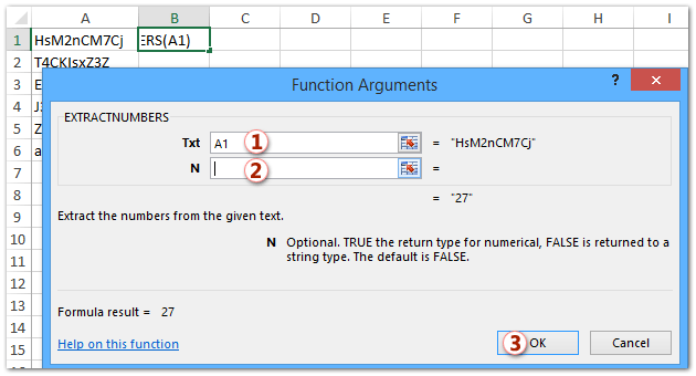 Quickly extract numbers from mixed text string with function in Excel