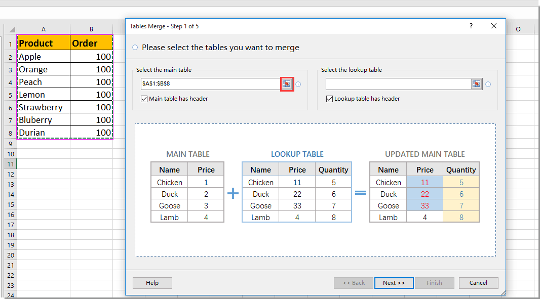 Easily update or merge tables by matching column from two worksheets