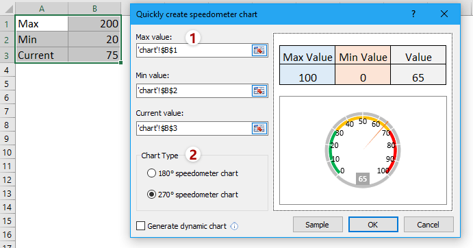 Create a static speedometer chart