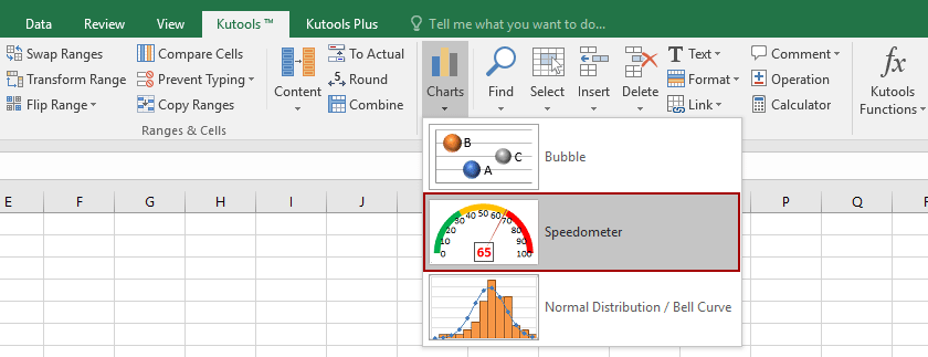 Speedometer chart, released by Kutools for Excel