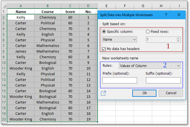 shot split data into worksheets 2