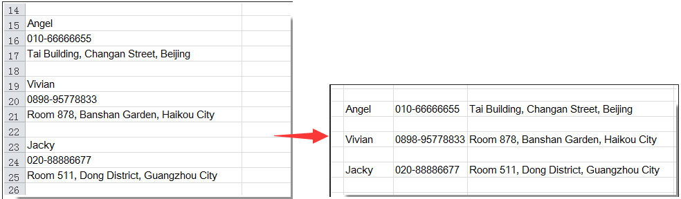 Transpose (convert) a single column or row to ranges in Excel