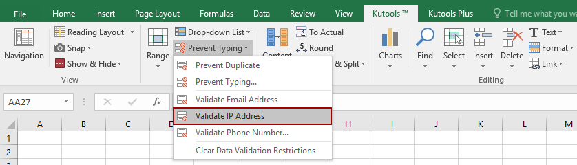 Validate IP Address, released by Kutools for Excel