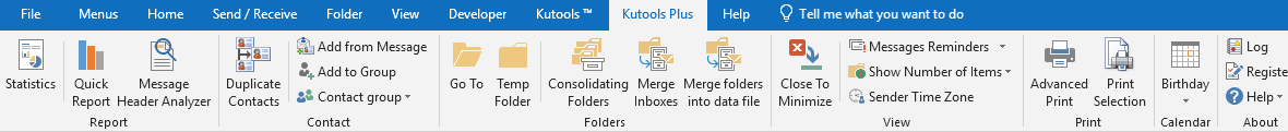 shot kutools Outlook kutools plus แท็บ 1180x121