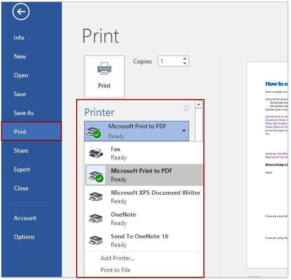 Quickly print multiple documents and document information in Word