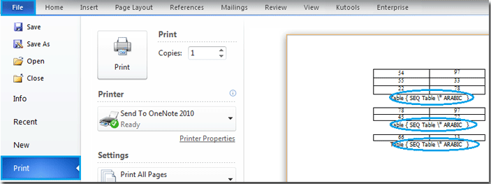 Quickly print field codes by converting field codes to plain