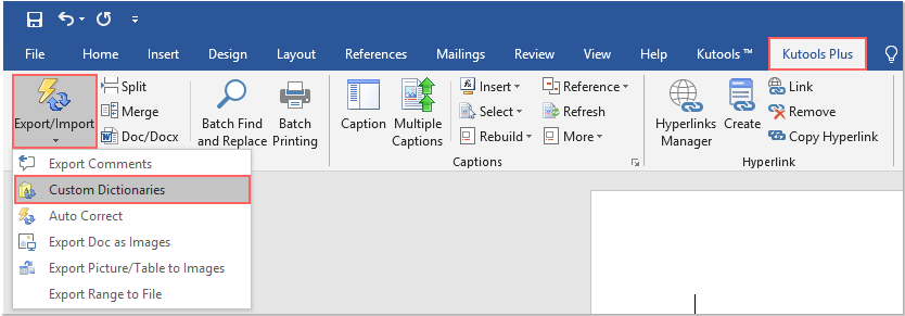 Quickly import or export and set default custom dictionary
