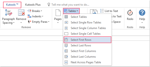 shot select all first rows of tables 01