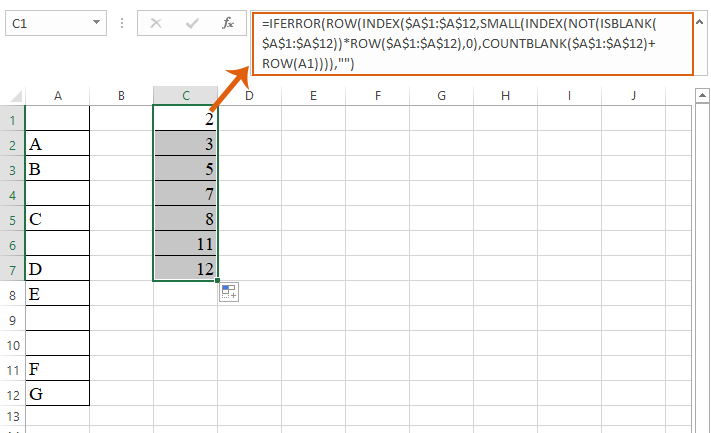 How to find the nth non blank cell in Excel?